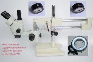 Image 2 - FYSCOPE Microscope  3.5X 90X Microscope Double Boom Stand Simul Focal Stereo Zoom Microscope+14MP HDMI camera +144pcs  led