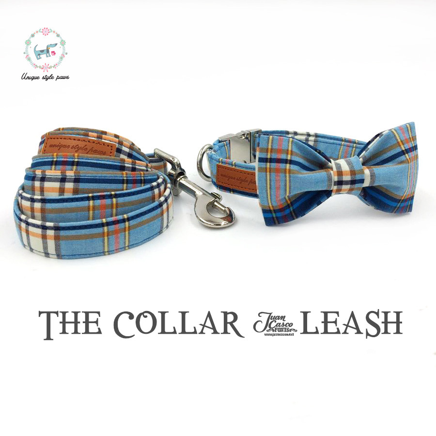 fashon plaid dog collar and leash set with bow tie basic dog cotton dog &cat necklace and dog leash for pet christmas gift