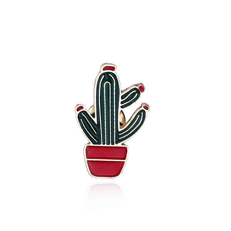 Fashion Kreatif Pelangi Kaktus Es Krim Kartun Bros Kepribadian Mahasiswa Warna Logam Bros Gadis Koboi Lencana Pin Perhiasan