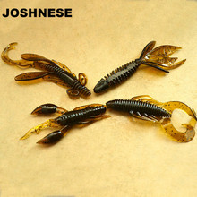 4pcs Worm Fishing Attractive Soft Shrimp Lifelike Wobbler Swivel Artificial Bait Silicon Shrimp Wobbler Jig Swivel Bass Lure