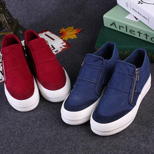Frete grátis na Primavera e no Outono novo denim sapatas de lona para ajudar a baixa-pesado de fundo elevados sapatos zíper sapatos