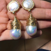 natural pearl earrings in gold jewelry MEDBOO new fashion 14k gold wrapping silver and brass mix never fade New tech jewelry