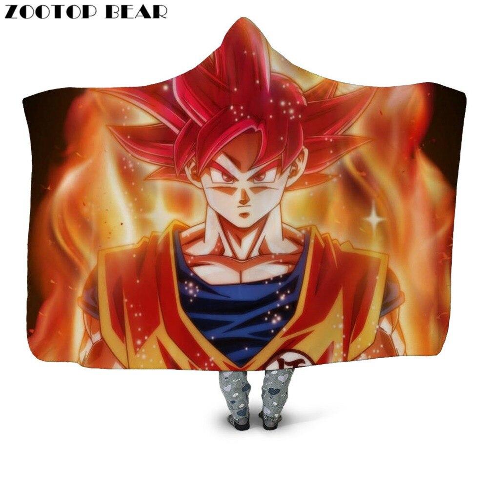 Super Goku Con Cappuccio Coperta Coperta Di Peluche Adulti Cappotti Ragazzi Anime Dragon Ball Casa Di Moda Morbido 3d Ufficio Stampa Trapunte E Piumoni Indossabile Biancheria Da Letto Bianchezza Pura