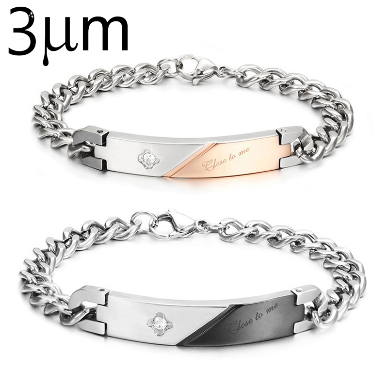 3umeter Couple Bracelet Custom Name Black Gold Color Bar Chain Stainless Steel Wedding Jewelry For