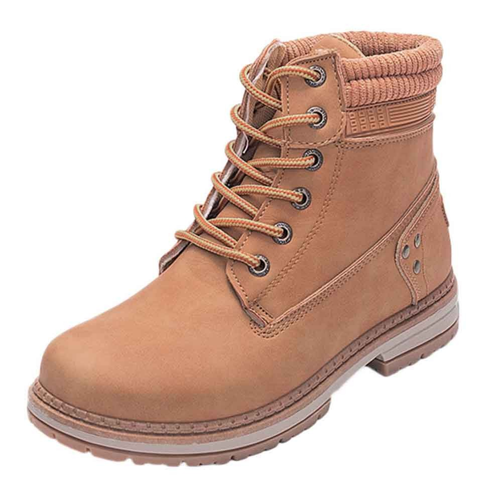 Women Boots Solid Lace Up Casual Ankle Boots Round Toe Shoes Student Snow Boots Classic Winter Warm Ladies Shoes T## 8