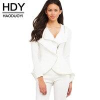 HDY Haoduoyi Solide Blanc Femmes Automne Casual Manteau Streetwear Mince À Manches Longues De Base Manteaux Naturel Zipper Femme Vestes Courtes