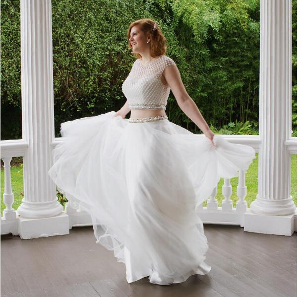 2017 Y Plus Size Two Piece Wedding Pearls Long 2 Pieces Bridal Dress