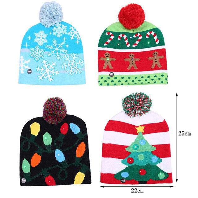 ee2f0b19f Funny Navidad sombrero hecho punto con luz led niños adultos fiesta de  Navidad decoraciones Warm luces
