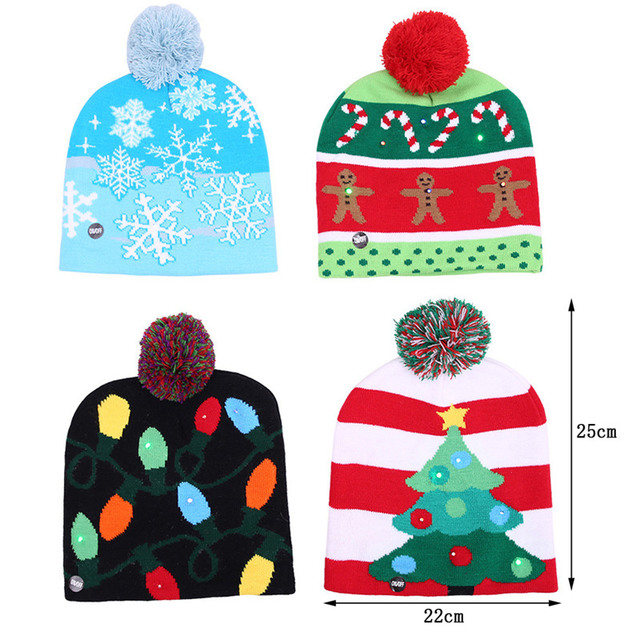 687399e38b7 Funny knitted christmas hat With led light kids adults Gift Christmas party  Decors Warm LED lights knitted Christmas hat