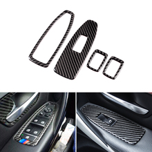 Real Carbon Fiber Car Interior Window Lift Switch Button Cover Trim For BMW 3 4 Series