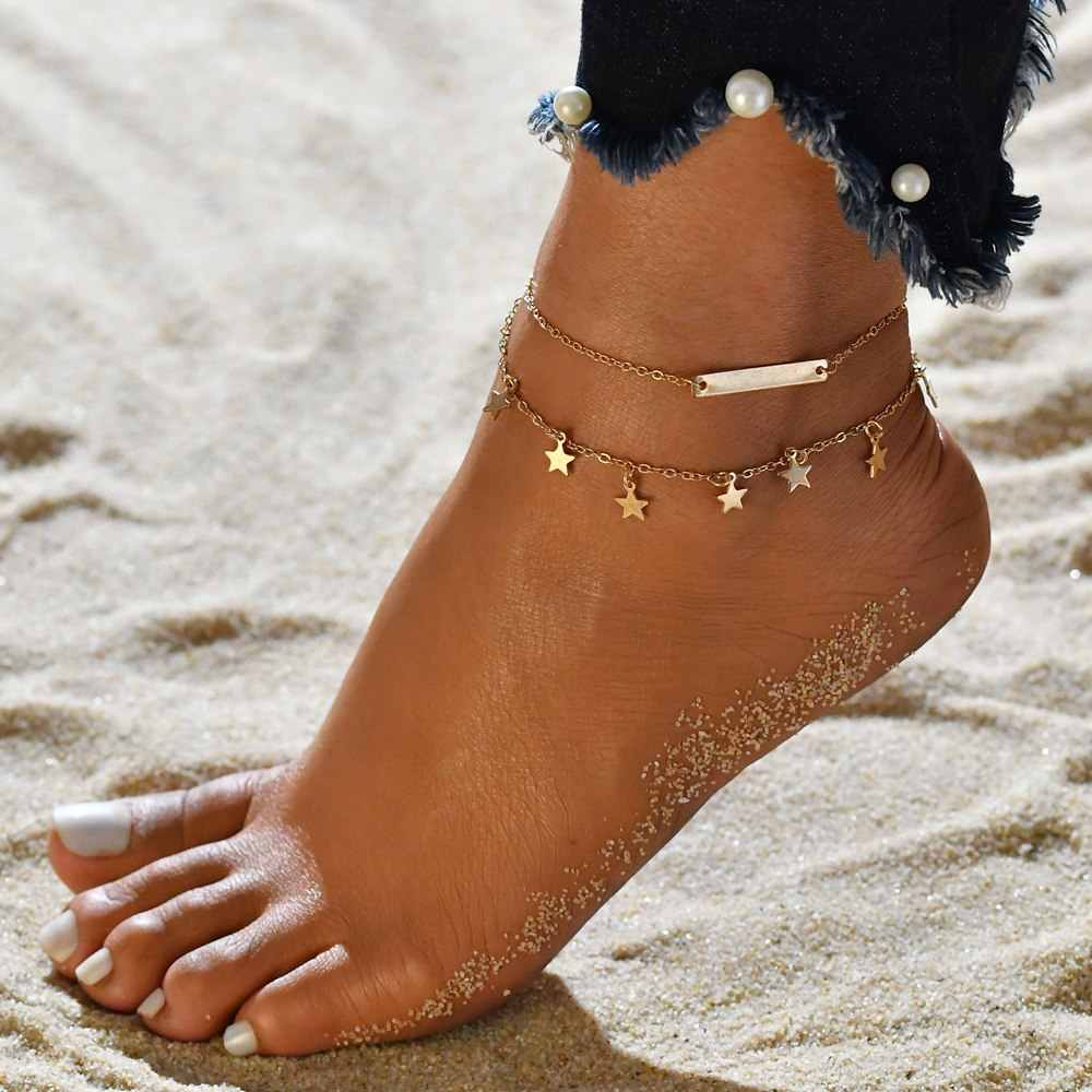 086c2304f50 ... Vintage Star Elephant Anklets Bracelet For Women Boho Pendent Double  Layer Anklet Bohemian Foot Jewelry Gift ...