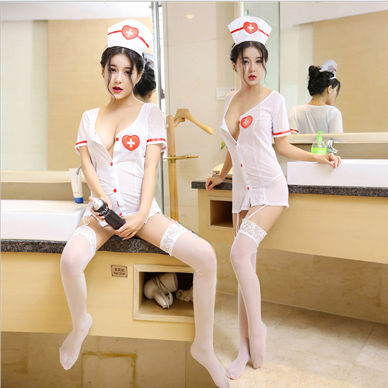 Nurse Erotic Costume Uniform Set Nurse Cosplay Lingerie Dress +g-string +hat +hairband+ Stockings