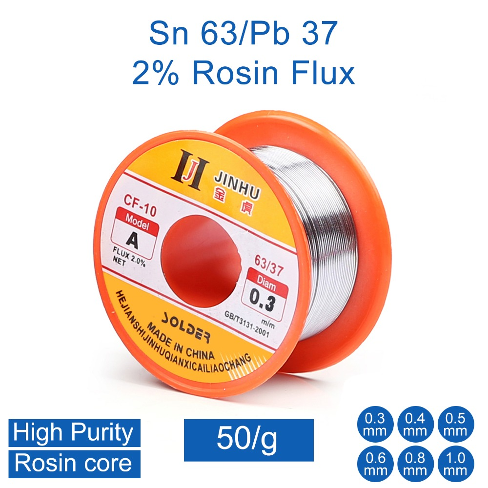 50g 0.3mm 0.4mm 0.5mm 0.6mm 0.8mm 1.0mm 63/37 Tin Lead Rosin Core Solder Wire For Electrical Repair, IC Repair