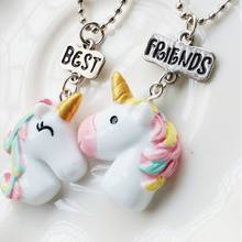 GENENIC 2PCS/Set Unicorn Pendant Necklace For Children Girls Best Friends BFF Bead Chain Necklace jewelry Hot Friendship Gift(China)