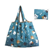 Lady Foldable Recycle Shopping Bags Reusable Cartoon Cats Floral Fruit Vegetable Tote Bag High Quality Striped Shipping Bags Hot