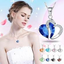 Fashion Women Heart Crystal Necklaces Rhinestone Silver Chain Pendant Necklace Jewelry Beautiful Torque Exquisite Choker Trinket(China)