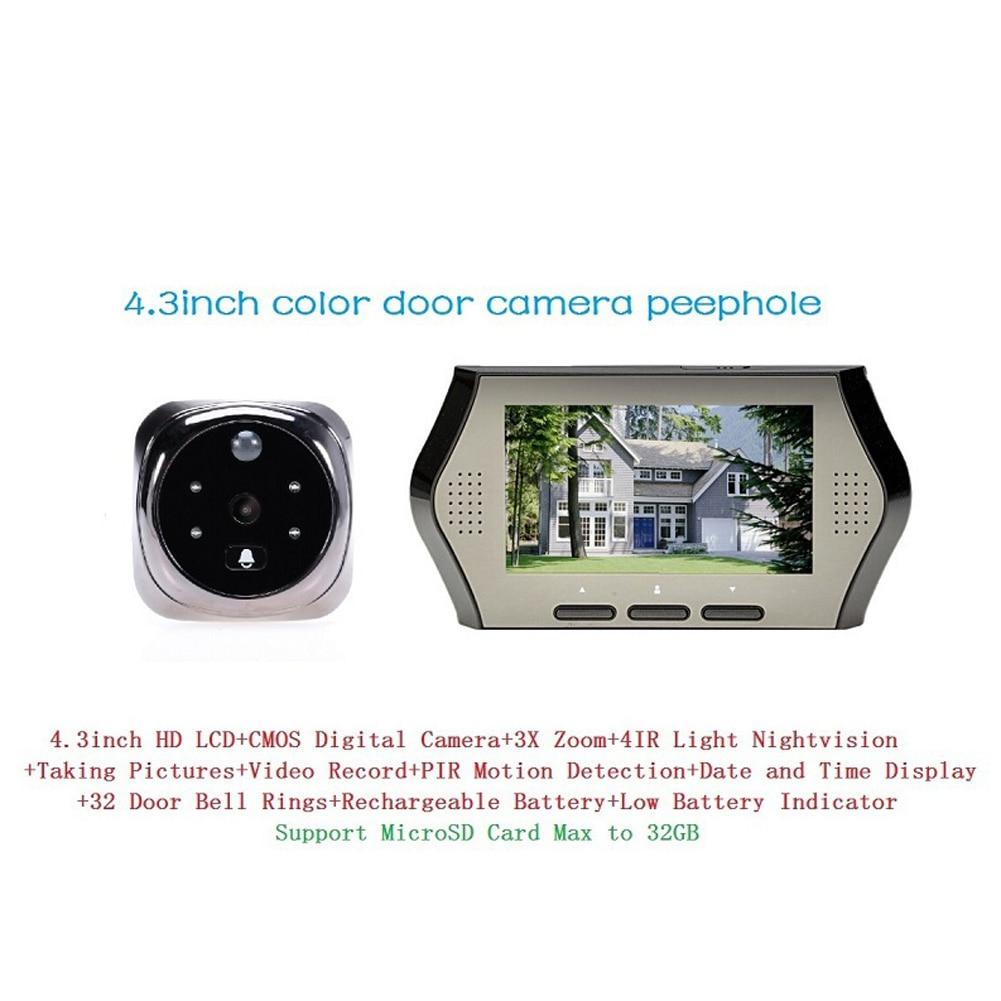 4.3inch LCD Door Phone Monitor Visual Camera Doorbell Motion Detect Door Bell Infrared Night Vision Door Ring Security Viewer