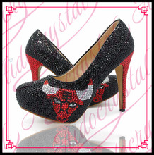 Aidocrystal Womens Custom Pattern Wedding Shoes Black and Red Crystal High Heel Shoes Dress Pumps Bridesmaid