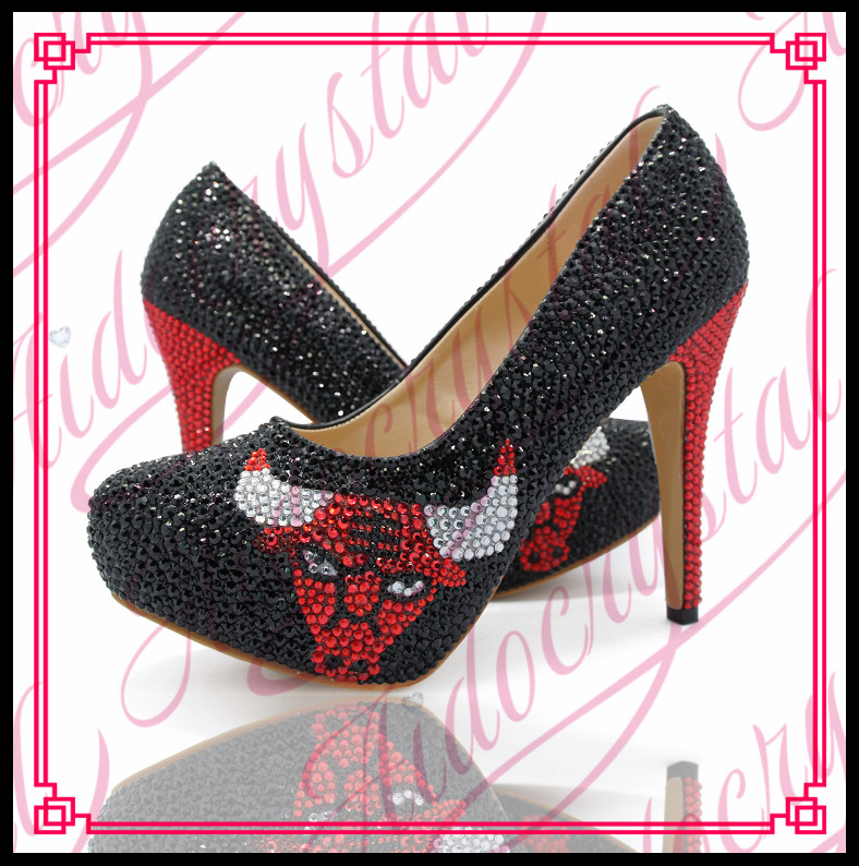 Aidocrystal Womens Custom Pattern Wedding Shoes Black and Red Crystal High Heel Shoes font b Dress