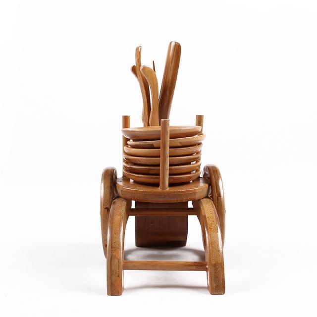6pcs/set Retro Natural Bamboo Matcha Tea Tools Cutters/scoops/clips/stick/mat/storage box Japanese Tea Ceremony Tools