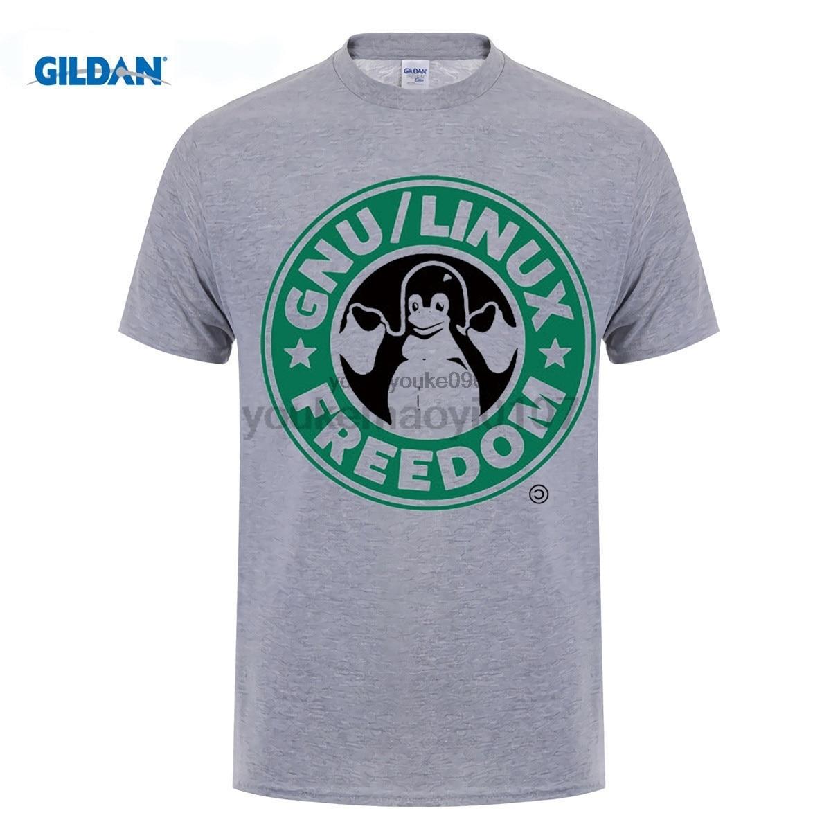 GILDAN designer t shirt GNU LINUX FREEDOM COFFEE PENGUINE T-shirt Top Lycra Cotton Men T shirt New Design High Quality