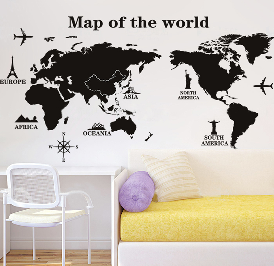 Clearance Sale World Map Wall Stickers Removable PVC Map of the World on the wall Art Decals Home Decoration Poster W008