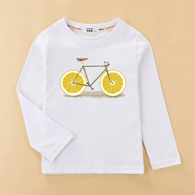 Girls funny t-shirt  flower-girl & fruit bike clothes child long sleeved tshirt 100% cotton tops tee baby girl 5