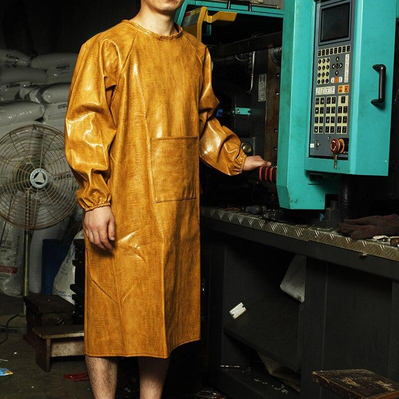 1 St Volwassen Schort Lederen Gown Waterdichte Olie Slip Lederen Zuur En Alkali Auto Reparatie Schort