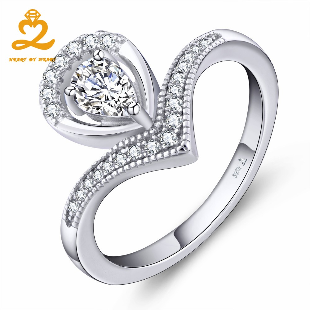 Heart By Heart Tear Drop Ring Silver 925 Sterling Silver Jewelry Women Novel Gemstone Color Jewelry with Wholesale Price Ring
