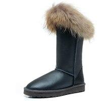 RUIYEE ladies snow boots fashion sheepskin waterproof boots wool shiny fur one piece snow boots furry fox fur boots