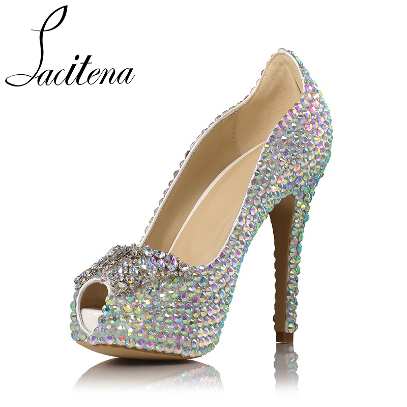 Butterfly Pearl Sexy High Heels Shoes Bridal Diamond Shoes
