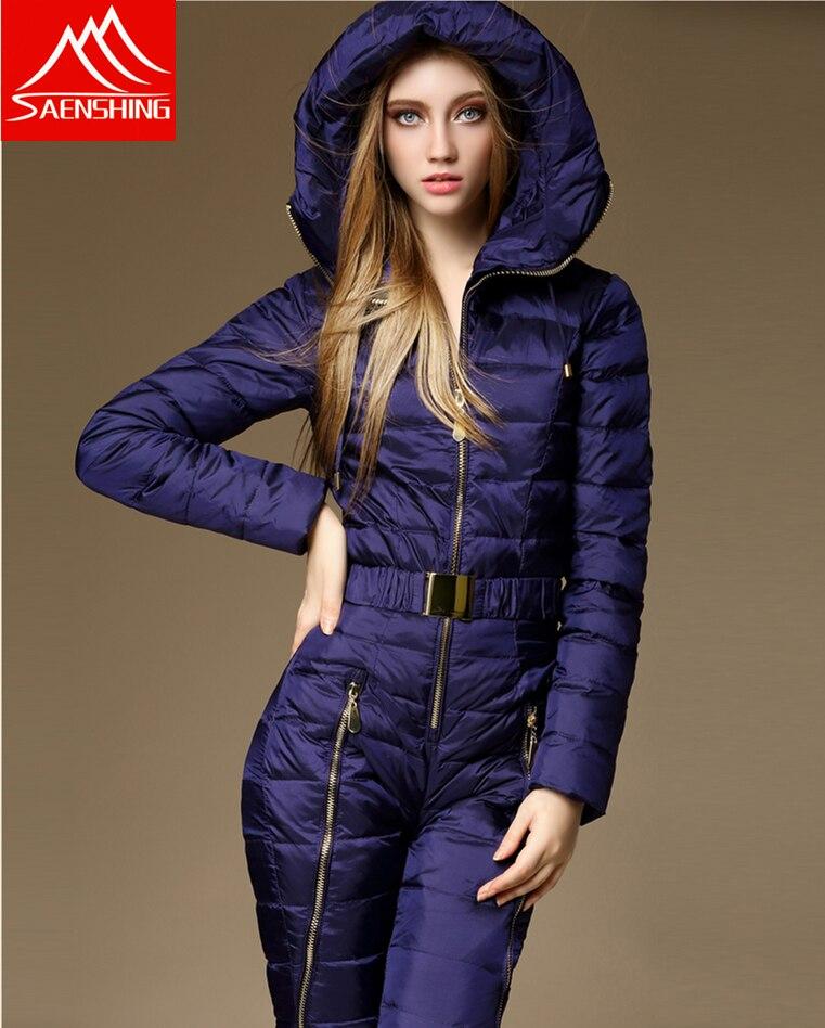 Hiver Vêtements Ensemble Survêtement de Haute Qualité combinaison de Ski Femmes Intégré Combinaison De Ski Féminin En Plein Air Super Chaud Femelle Ski Costumes