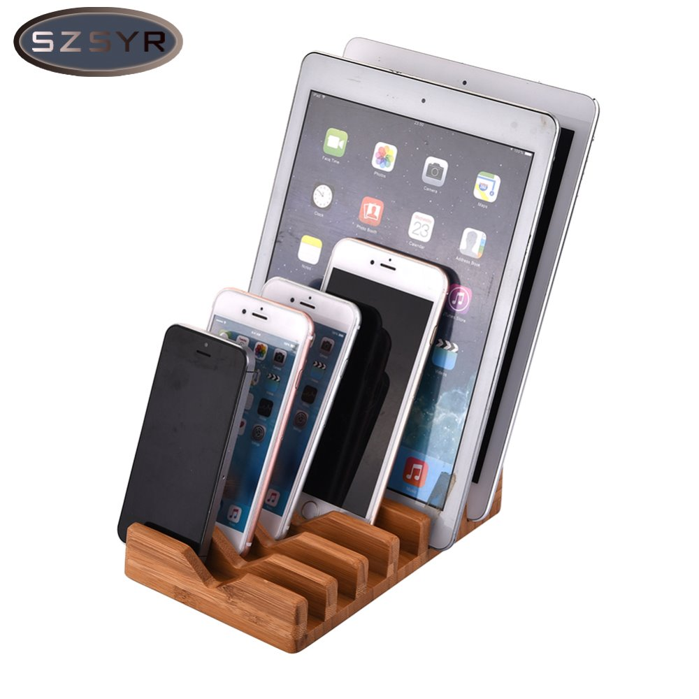 Desktop Organizer Space Saving 6 in 1 Bamboo Stand Charging Holder For iPhone ipad All Tablet PC Mobile Phone Freeshipping
