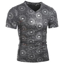 Tshirt Homme 2016 Short Sleeve T Shirt V-Neck Men T-Shirt Camisetas Circle Printing Hombre Tee Shirt Homme Funny T Shirts XXL