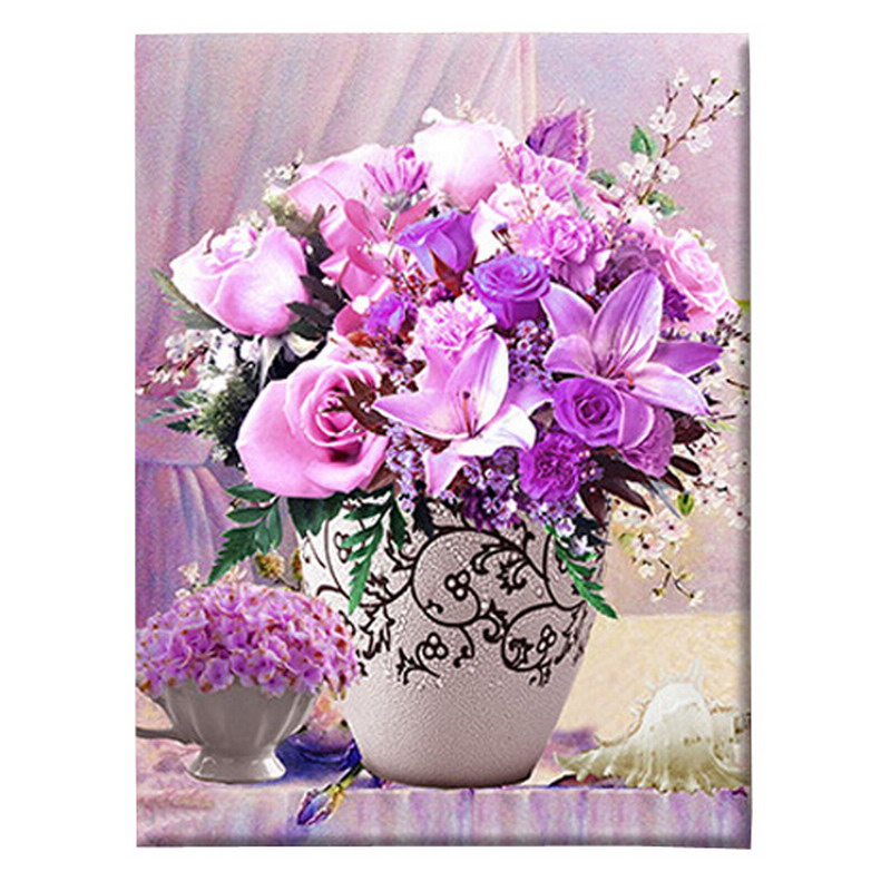 1 PC 5D DIY Diamond Painting Flowers 3D Cross Stitch Diamond Embroidery Mosaic Diamonds Wall Stickers Home Decor