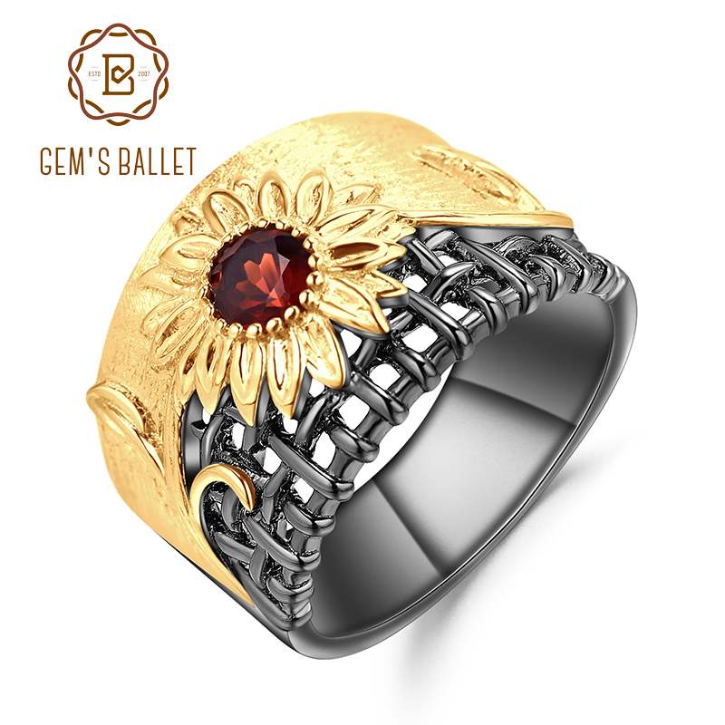 GEM'S BALLET 925 Sterling Silver Gemstones Ring 0.36Ct Natural Garnet Handmade Chrysanthemum Rings For Women Fine Jewelry