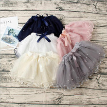 2017 Baby Girls Princess Tutu Skirts Dance Party Performance Mini Skirt Cute Bow Pearl Kids Girl Skirts Children's Clothing