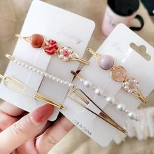Hair Accessories 3Pcs/set Combination Pearl Hair Clips For Women Girls Metal One-line Hairpin Delicate Barrettes delicate faux pearl openwork butterfly hairpin for women
