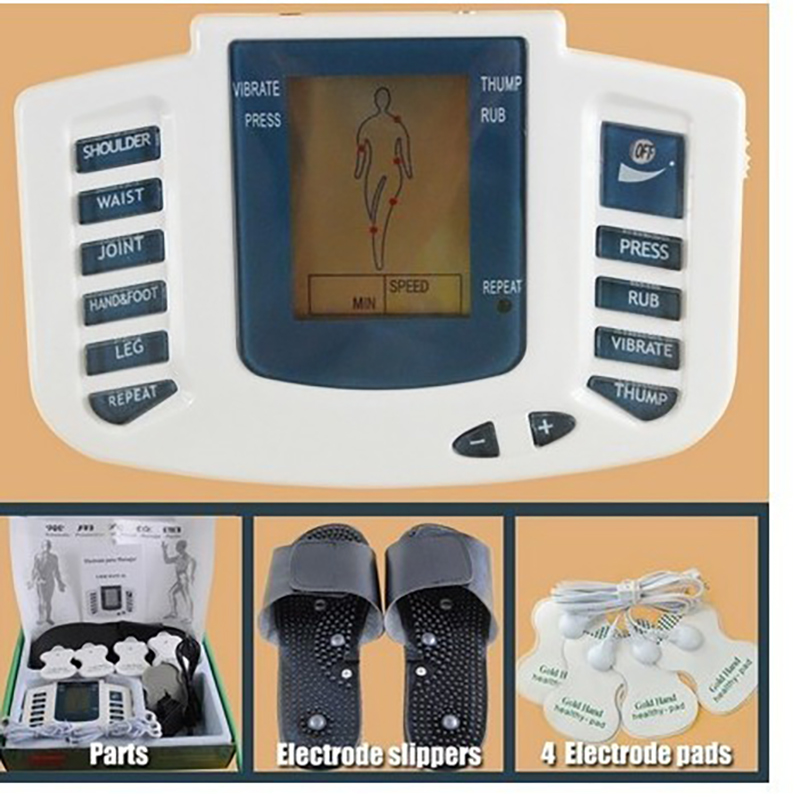 JR-309 Electrical Digital Stimulator Full Body Relax Muscle Massager,Pulse Tens Acupuncture Therapy slipper+4pads Health Care