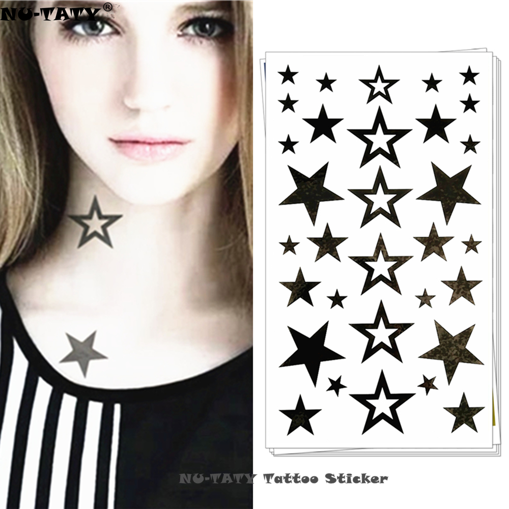 Nu-TATY Black Star Temporary Tattoo Body Art Flash Tattoo Stickers 17*10cm Waterproof Fake Tatoo Car Styling Wall Sticker
