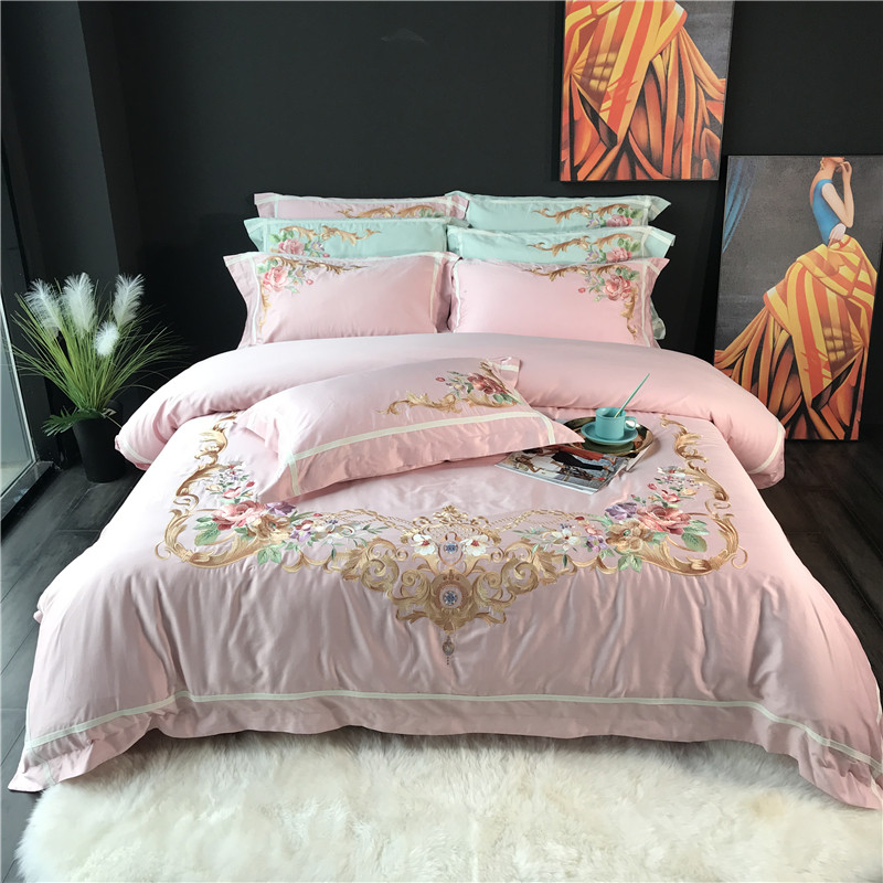 Pink Green Blue White Luxury Royal Embroidery Egyptian cotton Court Bedding Set Duvet Cover Bed sheet Bed Linen Pillowcases 4pcsPink Green Blue White Luxury Royal Embroidery Egyptian cotton Court Bedding Set Duvet Cover Bed sheet Bed Linen Pillowcases 4pcs