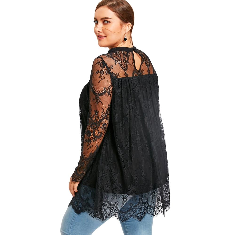 279980724e4 Gamiss Women Lace Blouse Plus Size Lace Scalloped Edge Blouse Shirt Autumn  2017 Black Long Sleeve Blusa Feminina Women Tops 5XL