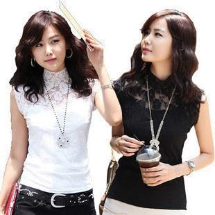 Women's turtleneck slim elegant zipper cutout lace shirt basic shirt modal small vest