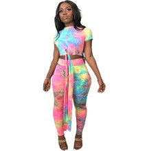 Women Casual Two Piece Set Top and Pants Tracksuit Plus Size Tie Dye Print Crop Top and Pants Set Summer 2 Piece Set Outfits women s top and pants pajama set