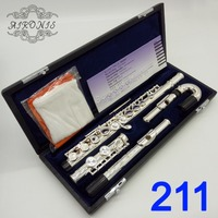 Japan Professional Flute 211 Silver Plated Flute Instrument Intermediate Student Curved Headjoint Flutes 16 Holes Closed E Key