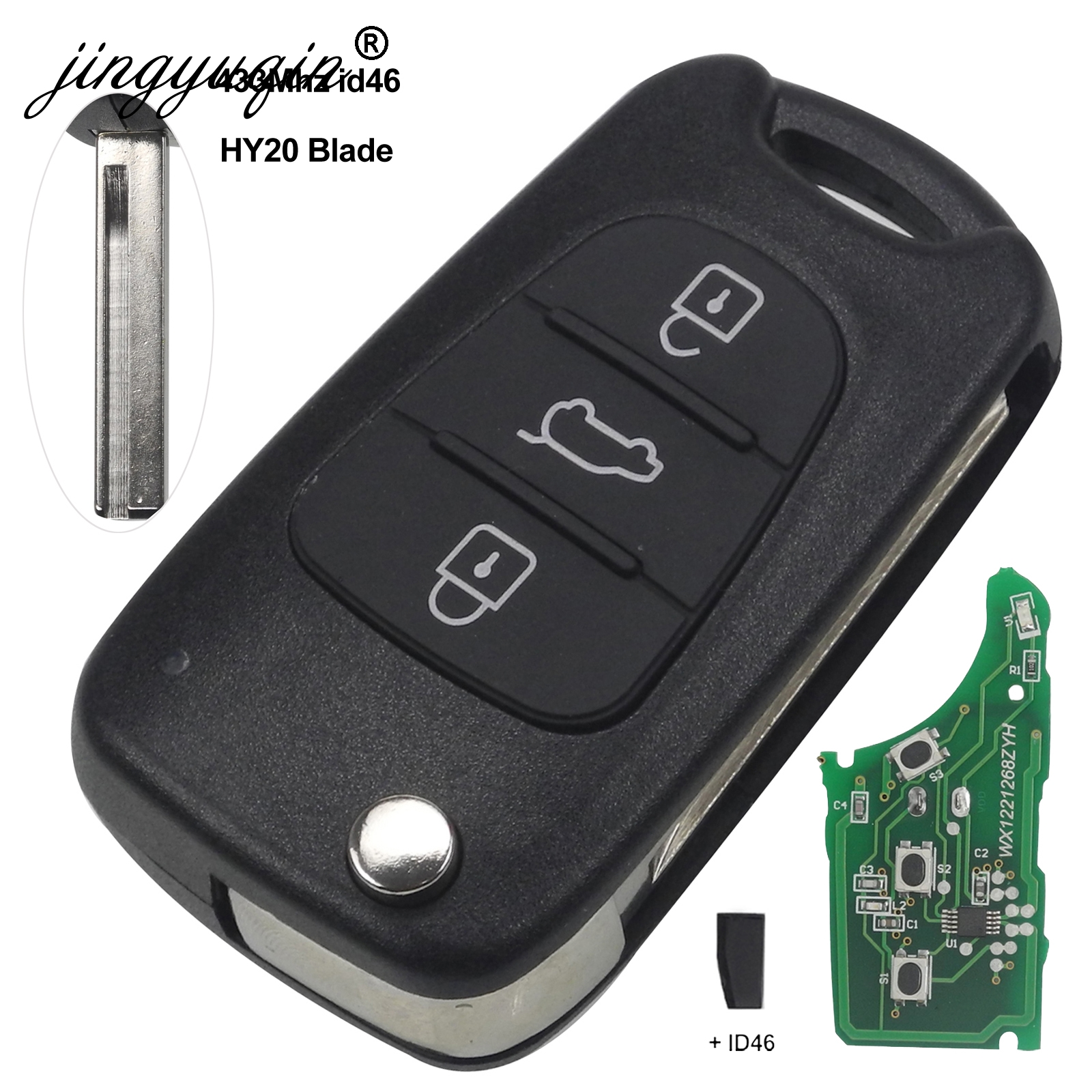 Image 3 - jingyuqin For Hyundai I20 I30 IX35 Avante 433Mhz ID46 Chip 3 Buttons Flip Folding Car Remote Key Fob-in Car Key from Automobiles & Motorcycles