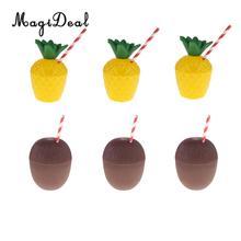 6pcs Tropical Pineapple Coconut Drink Cups+Straw Set Hawaiian Luau Beach Birthday Party Supplies