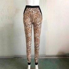 [aosheng] New Autumn Winter 2018 Fashion Big Leopard Printed High Waist  Splice Pockets Knitted Elastic Jogger Pants Women Y041