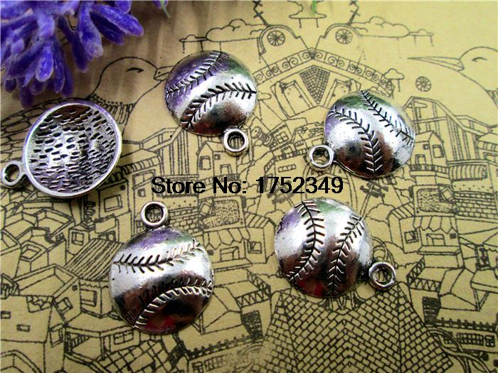 30pcs Baseball charms Softball charm silver tone baseball charm pendants 18x15mm
