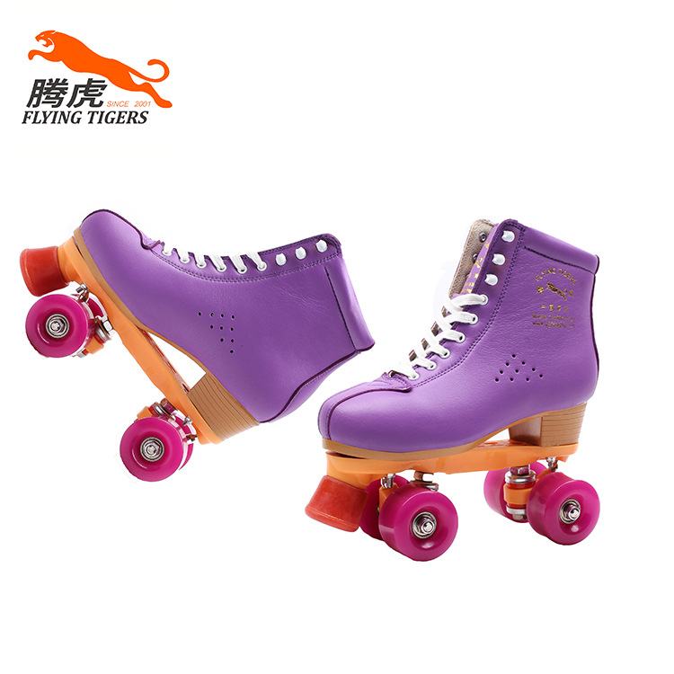 Purple leather double-row roller skates slip outdoor adult men and women Roller shoes black roller skates double line skates men women lady model adult pink f1 racing 4 wheels two line roller skating shoes patines